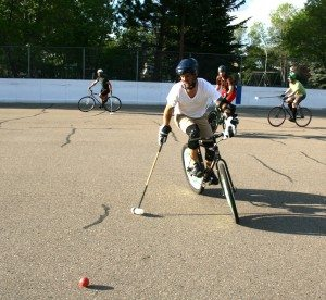 Mike Borley during a bike polo game at the Ritchie Community Centre. Photo: Catherine Szabo