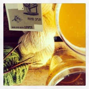 Yarn and beer for Alberta Yarn Project