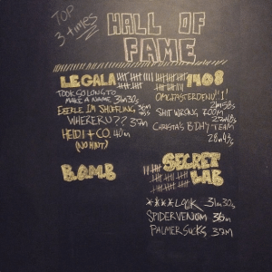 The Hall of Fame wall at Breakout Entertainment. Photo from @breakoutedm Instagram page.