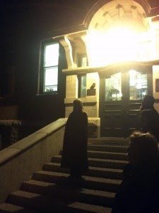 Spooky stories on the steps of Old Scona High School.  Photo: Erin Wallace