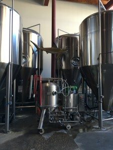 Craft beer tanks at Yellowhead Brewery downtown Edmonton