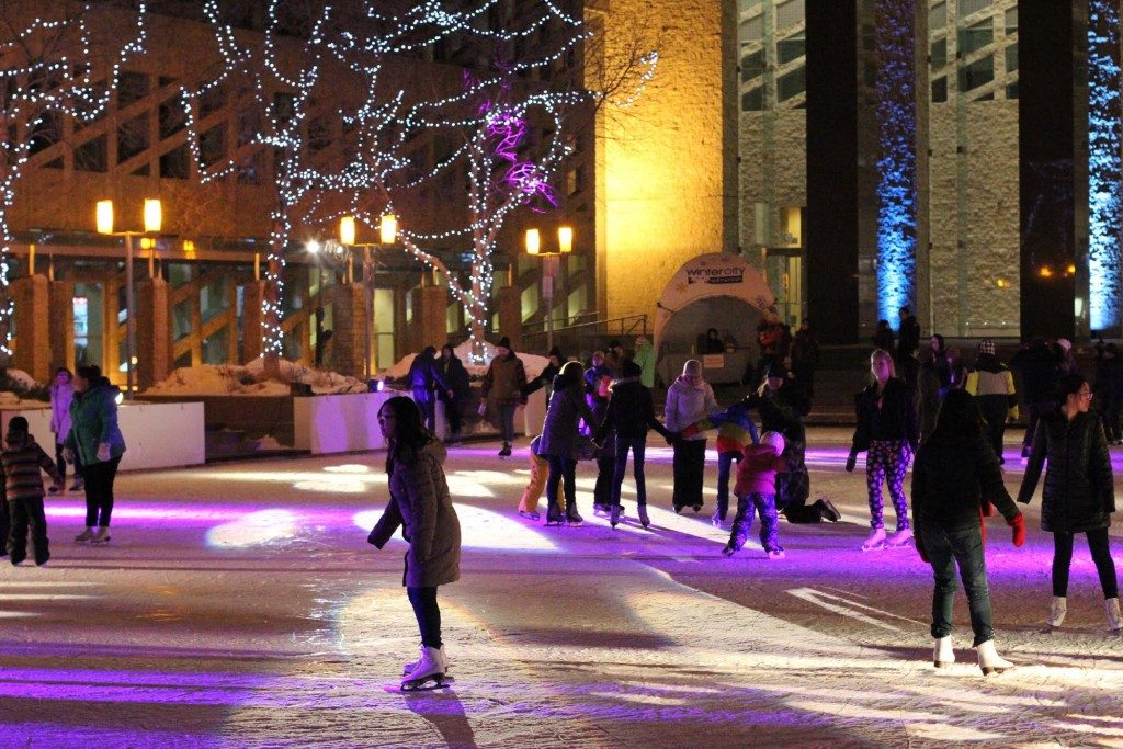 Skaters enjoying Edmonton City Hall's outdoor rink. Photo: Arielle Demchuk